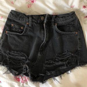 Black denim jean shorts